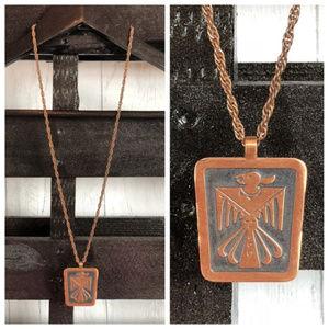 60s Southwest Copper Thunderbird Pendant Necklace